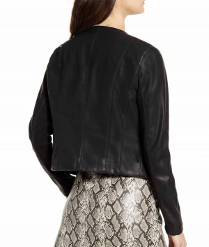 Laura J Collarless Style Womens Leather Jacket