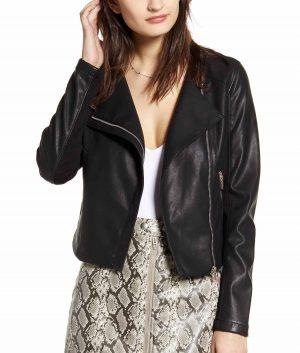 Laura J Womens Collarless Style Moto Jacket