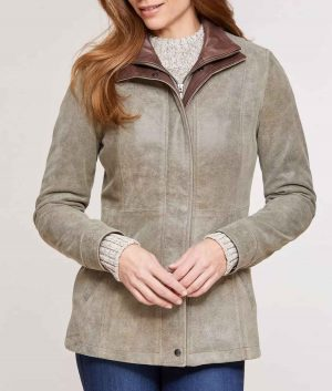 Laura Womens Double Collar Distressed Jacket