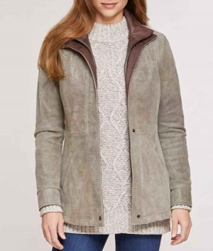 Laura Womens Double Collar Distressed Lambskin Leather Jacket