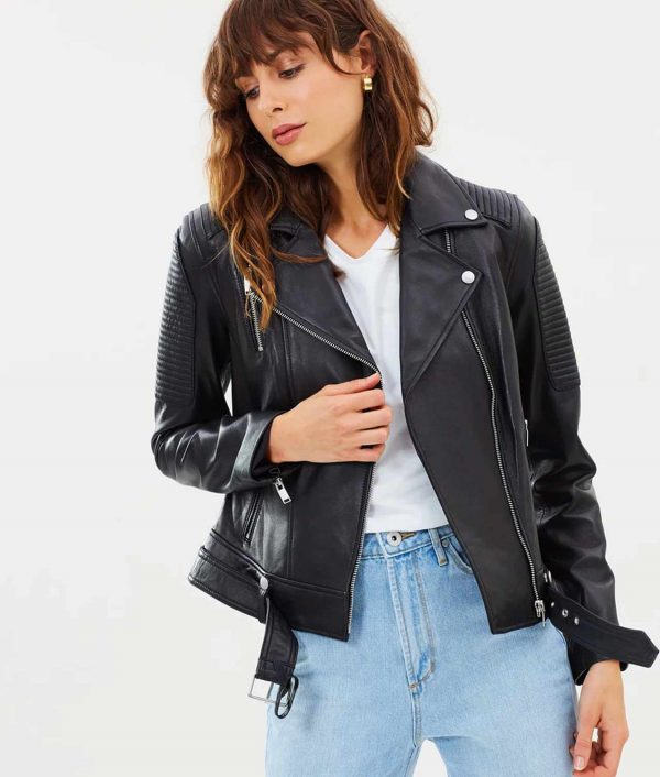 Lillian Womens Sholder Paded Leather Jacket