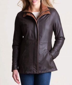 Lillie Womens Double Collar Style Lamskin Leather Jacket