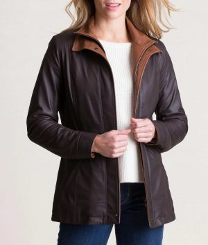 Lillie Womens Double Collar Style Lamskin Jacket
