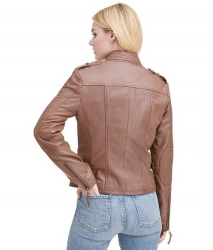 Linda Womens Vintage Distressed Leather Jacket