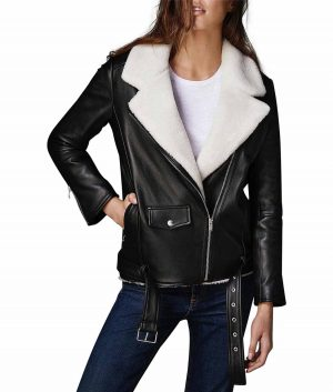 Louise Womens Black Shearling Jacket