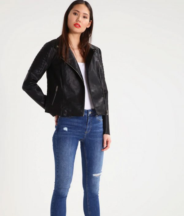Lucille Womens Lapel Collar Faux Leather Jacket