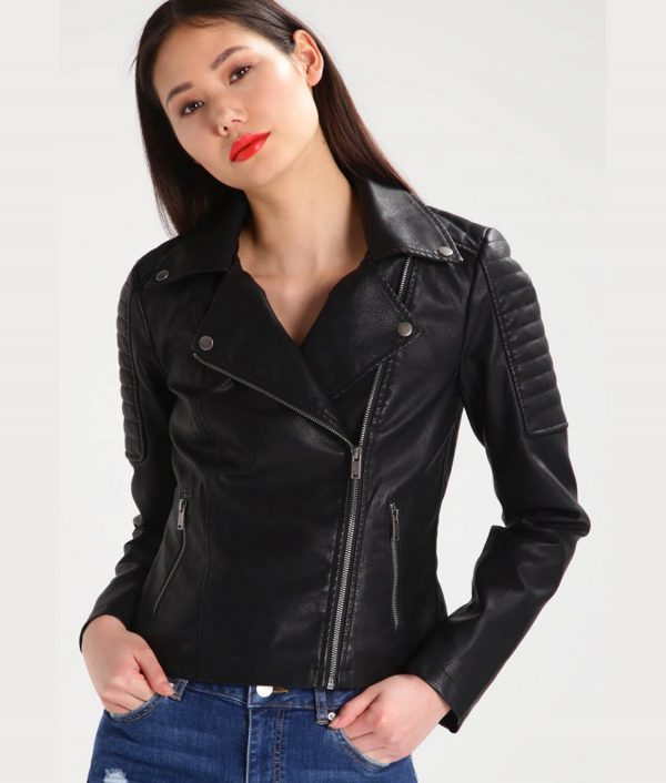 Lucille Lapel Collar Womens Leather Jacket