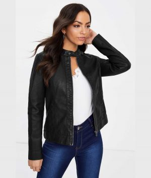 Marjorie Womens Lamskin Black Jacket