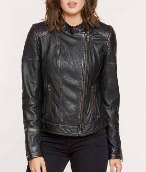 Marsha Womens Dist Black Moto Leather Jacket