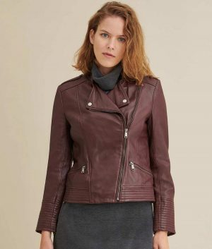 Mary Womens Genuine Leather Biker Jacket