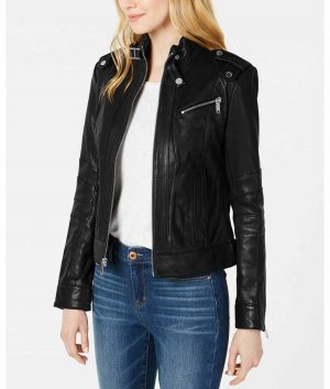 Mary Womens Black Slimfit Style Biker Leather Jacket