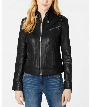 Mary Womens Black Slimfit Style Leather Jacket