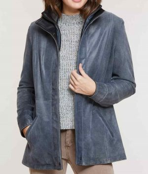 Mary Womens Double Collar Distressed Leather Jacket