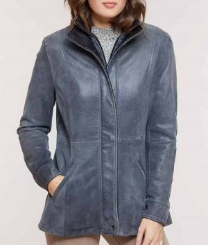 Mary Womens Double Collar Distressed Lambskin Leather Jacket