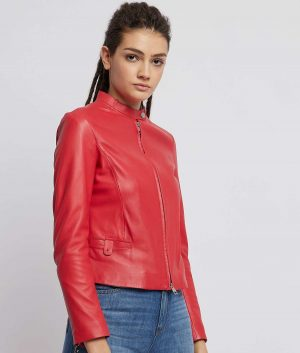 Melba Mandarin Collar Cafe Racer Womens Jacket