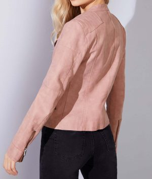 Nancy Womens Asymmetrical Zip Biker Leather Jacket