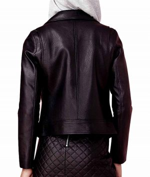 Olga Womens Lapel Collar Lamskin Leather Biker Jacket