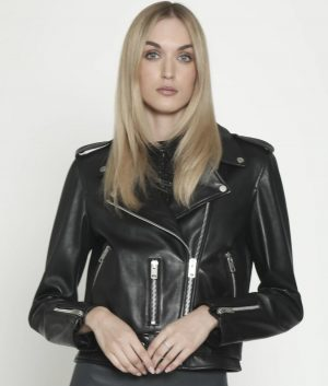 Patricia Womens Lapel Collar Black Leather Moto Jacket
