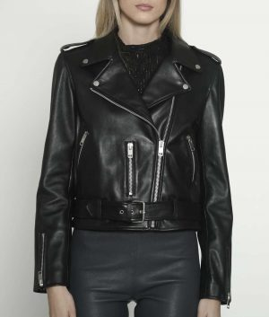 Patricia Womens Lapel Collar Black Leather Jacket