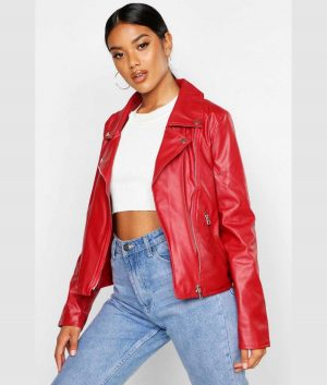 Rosalie Womens Red Biker Jacket