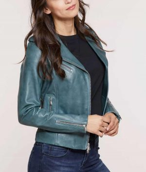 Ruth Womens Lapel Collar Lambskin Leather Moto Jacket