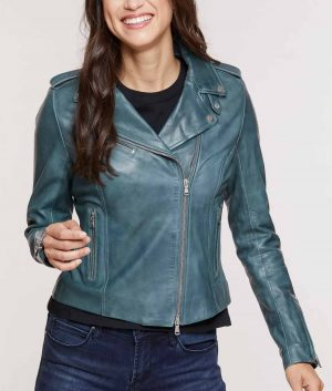 Ruth Womens Lapel Collar Lambskin Leather Jacket