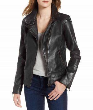 Sandra Notch lapels Slimfit Style Womens Leather Jacket