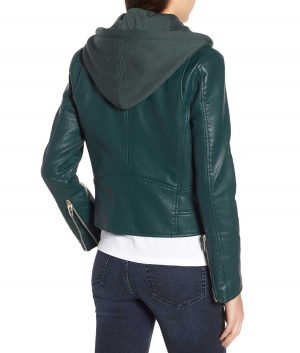 Sarah Lapel Collar Removable Hood Womens Leather Jacket