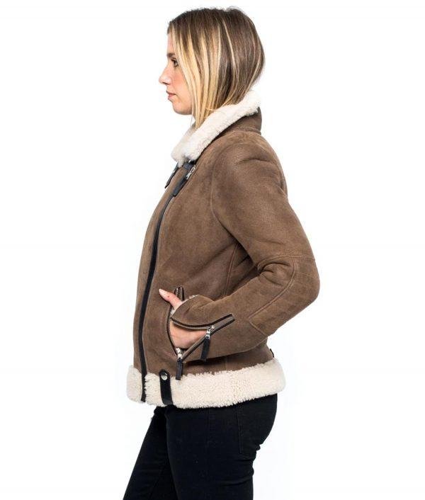 Womens Aviator Style Brown Jacket