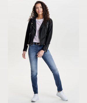 Shirley Womens Lapel Collar Moto Jacket