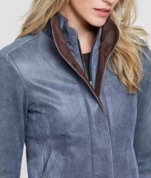 Susannah Womens Distressed Lambskin Jacket