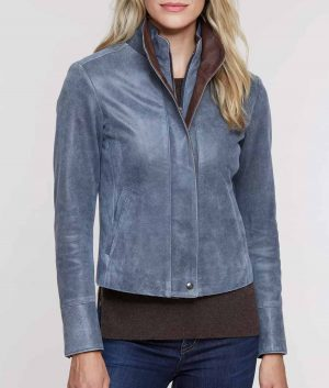 Susannah Womens Distressed Leather Jacket