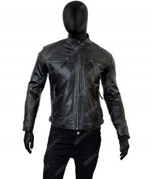 Thomas Mens Black Cafe Racer Leather Jacket