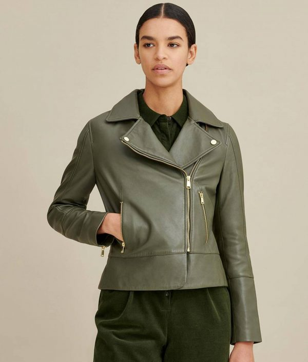 Velma Womens Notch Collar Olive Moto Leather Jacket
