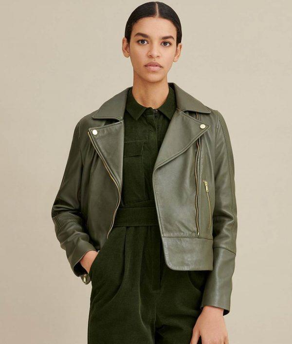 Velma Womens Notch Collar Olive Moto Jacket
