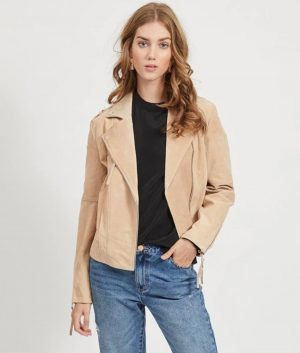 Veronica Womens Lapel Collar Beige Leather Jacket