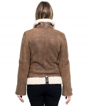 Sherry Womens Aviator Style Brown Shearling Jacket