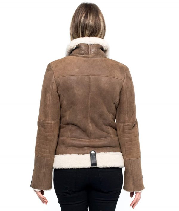Sherry Womens Aviator Style Brown Shearling Jacket