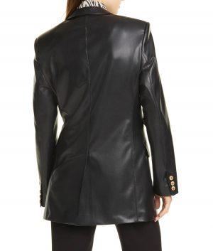 Agnes Womens Peaked Lapels Leather Blazer