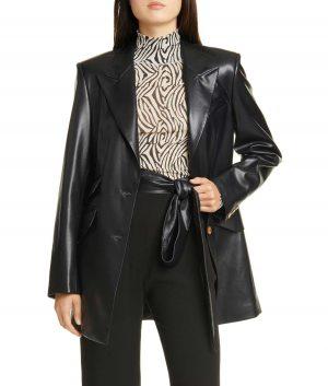 Agnes Womens Leather Blazer