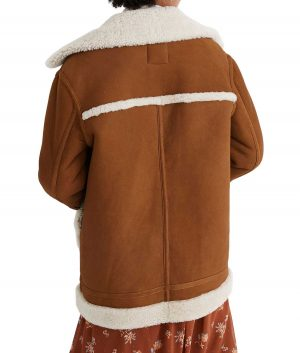 Alice Womens Buckle Stand Collar Shearling Jacket