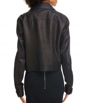 Alyssa Womens Zip Sleeve Italian Calfskin Moto Jacket
