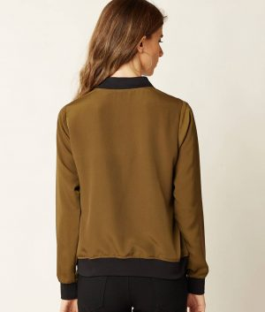 April Womens Olive Green Solid Bomber Jacket