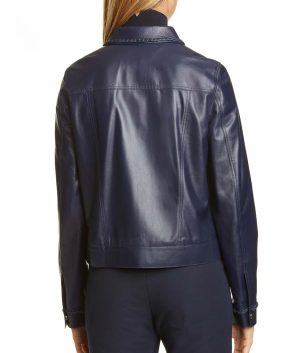 Arlene Womens Braid Trim Royal Blue Leather Jacket
