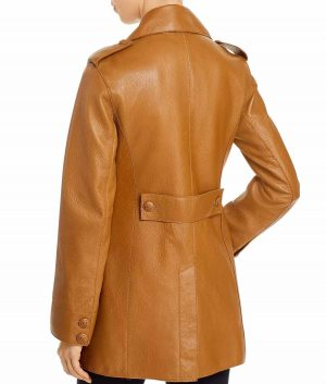 Barbara Womens Front Button Closure Brown Leather Jacket
