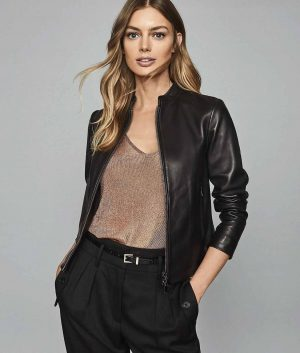 Beatrice Womens Collarless Leather Jacket