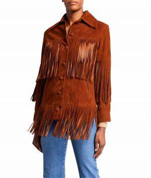 Bertha Womens Brown Fringe Jacket