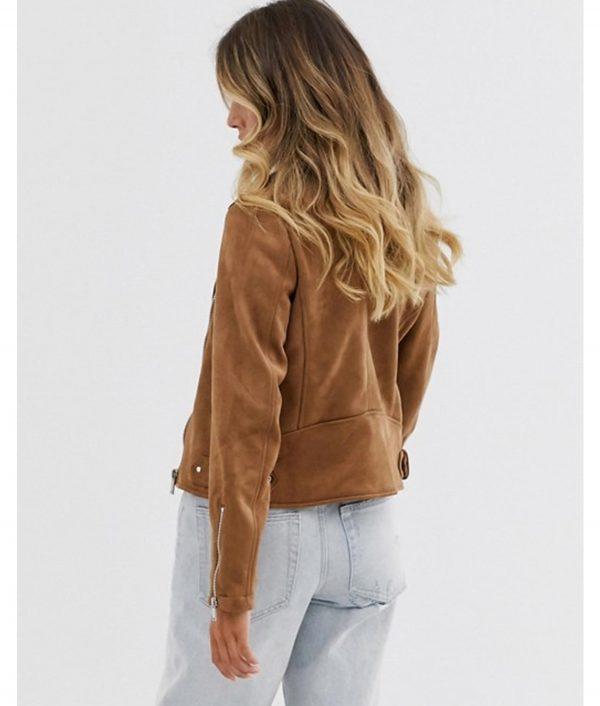 Betty Womens Brown Suede Leather Biker Jacket