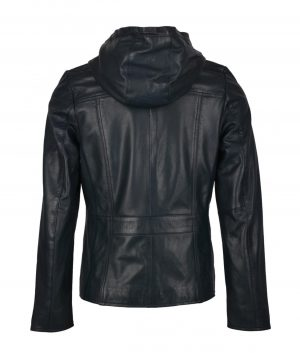 Beverly Womens Hooded Leather Jacket In Fresh Navy