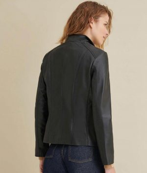 Blanche Womens Stand Up Scuba Collar Leather Jacket